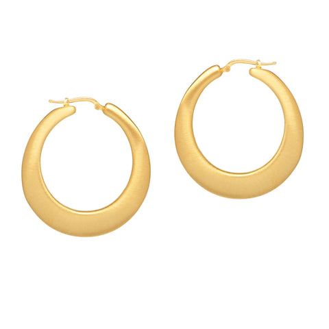 La SATIN & SHINY Ovals - The Hoop Station 925 Sterling Silver Hoop Earrings Gold Huggies