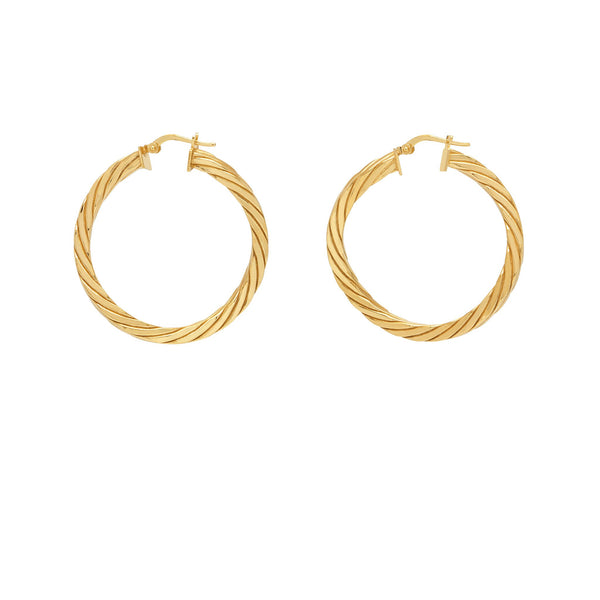 La CANDY TWIST Gold - The Hoop Station 925 Sterling Silver Hoop Earrings Gold Huggies