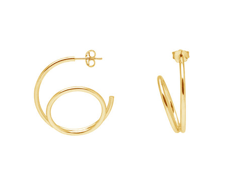 La SPIRALE - Gold or Silver - The Hoop Station 925 Sterling Silver Hoop Earrings Gold Huggies