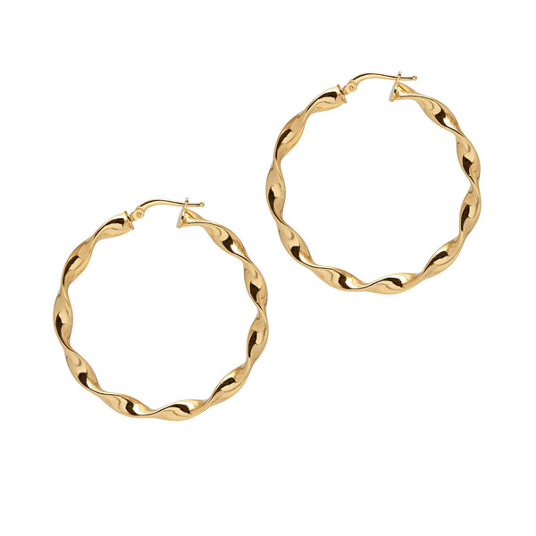 La 'CURLY WURLY' TWISTS - Gold - The Hoop Station 925 Sterling Silver Hoop Earrings Gold Huggies