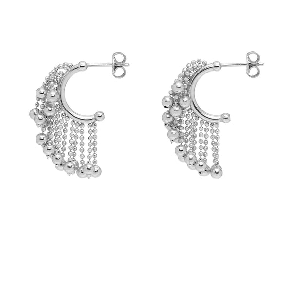 La CASCADA Drop - Silver - The Hoop Station 925 Sterling Silver Hoop Earrings Gold Huggies