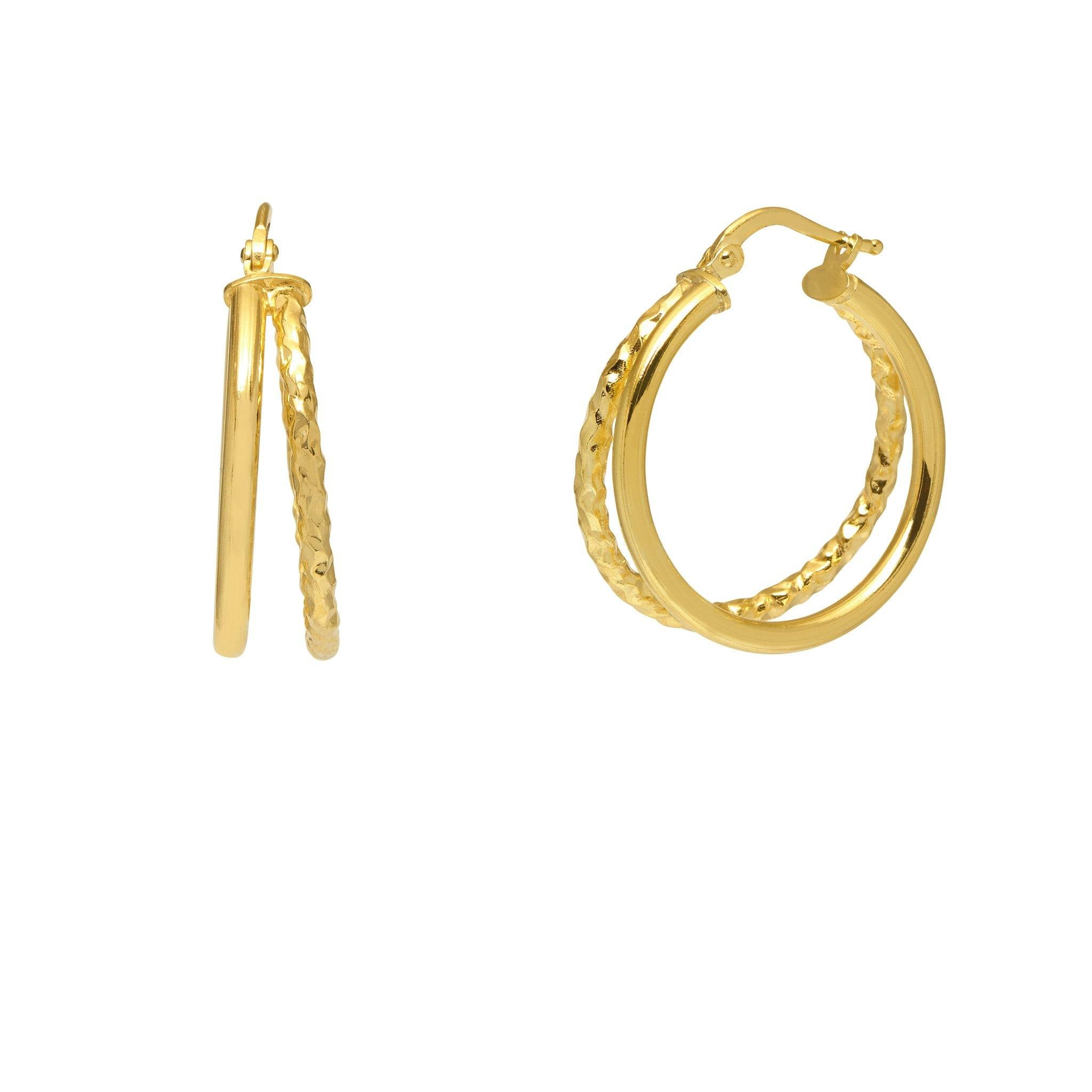 La DOPPIA LUXE Hoops (2 x sizes) - The Hoop Station 925 Sterling Silver Hoop Earrings Gold Huggies