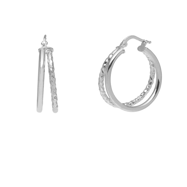 La DOPPIA LUXE - Silver - The Hoop Station 925 Sterling Silver Hoop Earrings Gold Huggies
