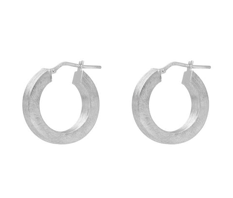 La SQUARED SATINA - Various widths & diameters - The Hoop Station 925 Sterling Silver Hoop Earrings Gold Huggies