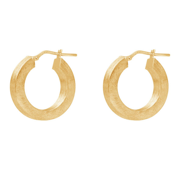 La SQUARED SATINA - The Hoop Station 925 Sterling Silver Hoop Earrings Gold Huggies