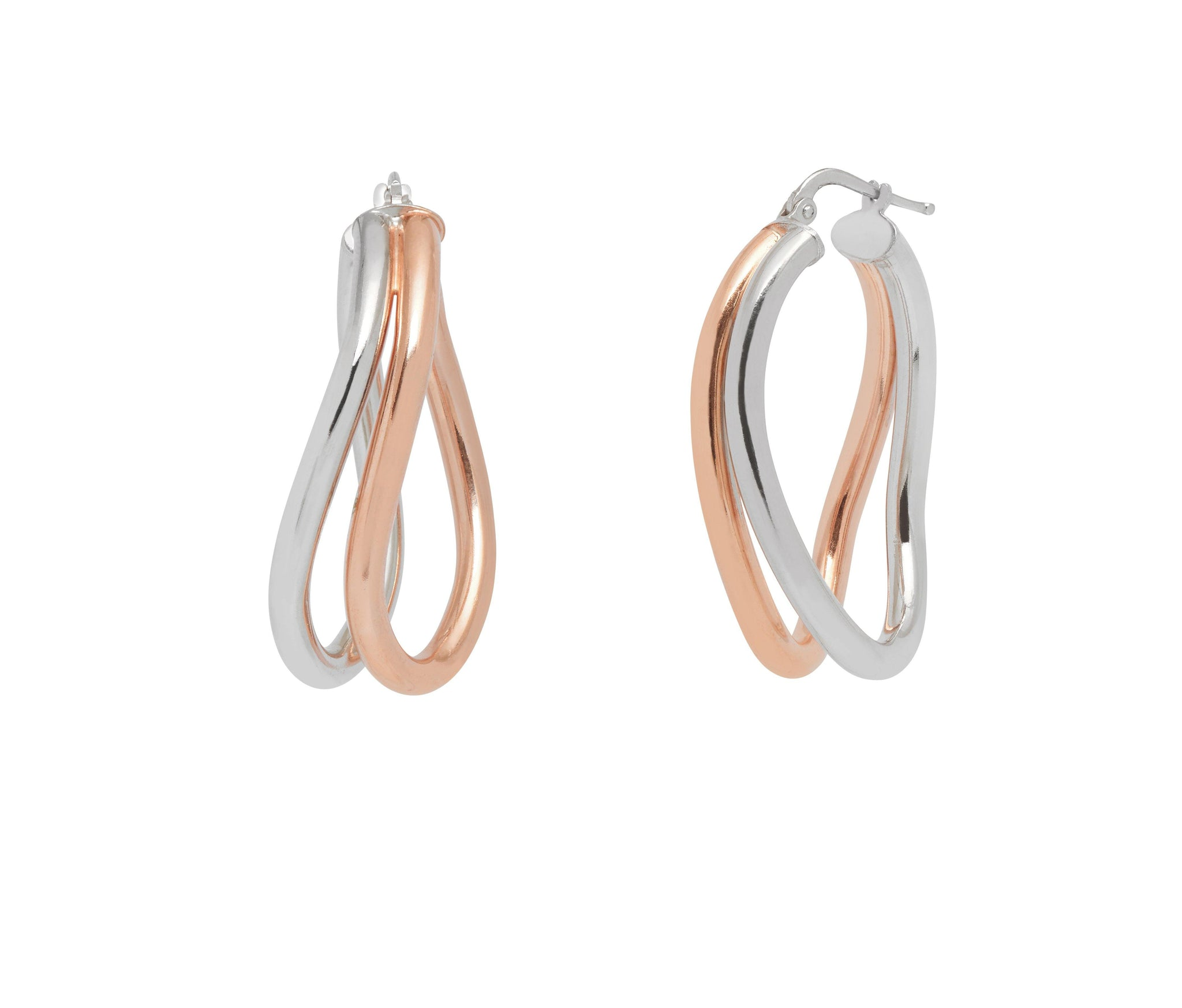La DOPPIA WAVE Hoops - Silver & Rosegold - The Hoop Station 925 Sterling Silver Hoop Earrings Gold Huggies
