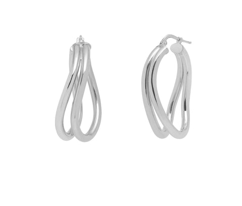 La DOPPIA WAVE Hoops - Silver - The Hoop Station 925 Sterling Silver Hoop Earrings Gold Huggies