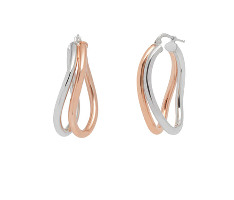 La DOPPIA WAVE Hoops - SALE - The Hoop Station 925 Sterling Silver Hoop Earrings Gold Huggies