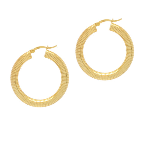 La LINEA RIBBED - Gold - The Hoop Station 925 Sterling Silver Hoop Earrings Gold Huggies