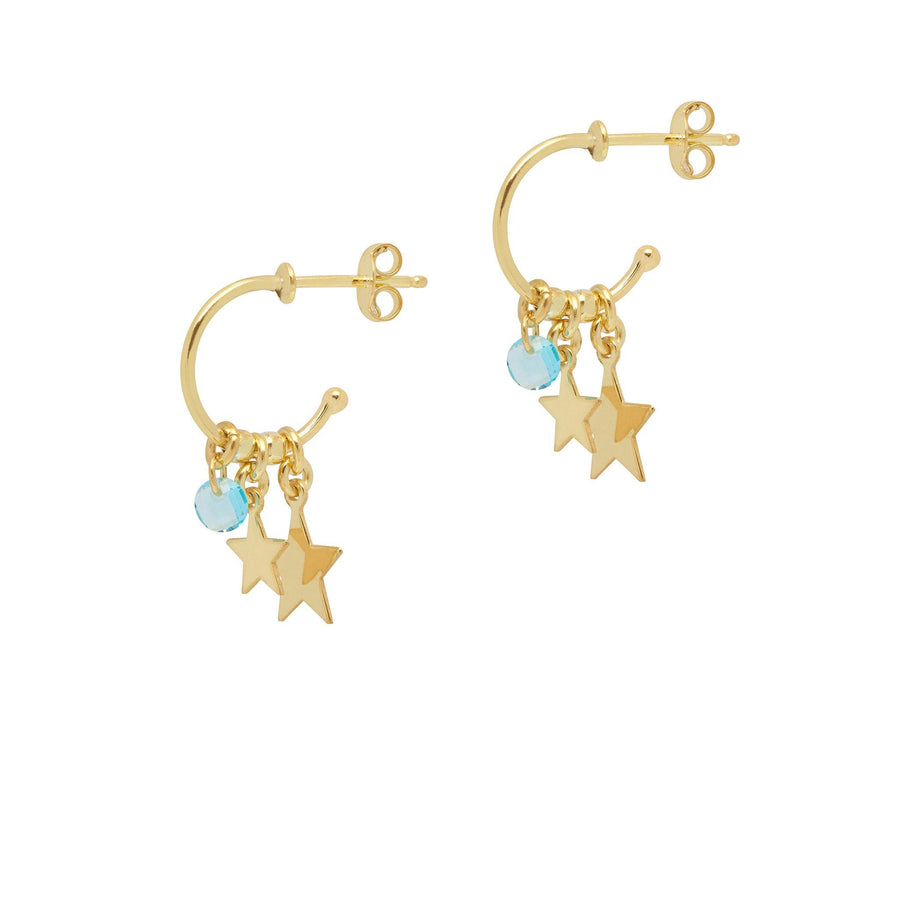 XS Gold Charm Drop Hoops with stars and aquamarine drops