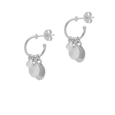 SATINA & CRYSTAL DROPS - Silver ( 2 x sizes)