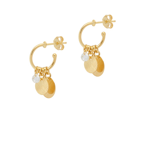 La SATINA & CRYSTAL DROP Huggies - Gold - The Hoop Station 925 Sterling Silver Hoop Earrings Gold Huggies
