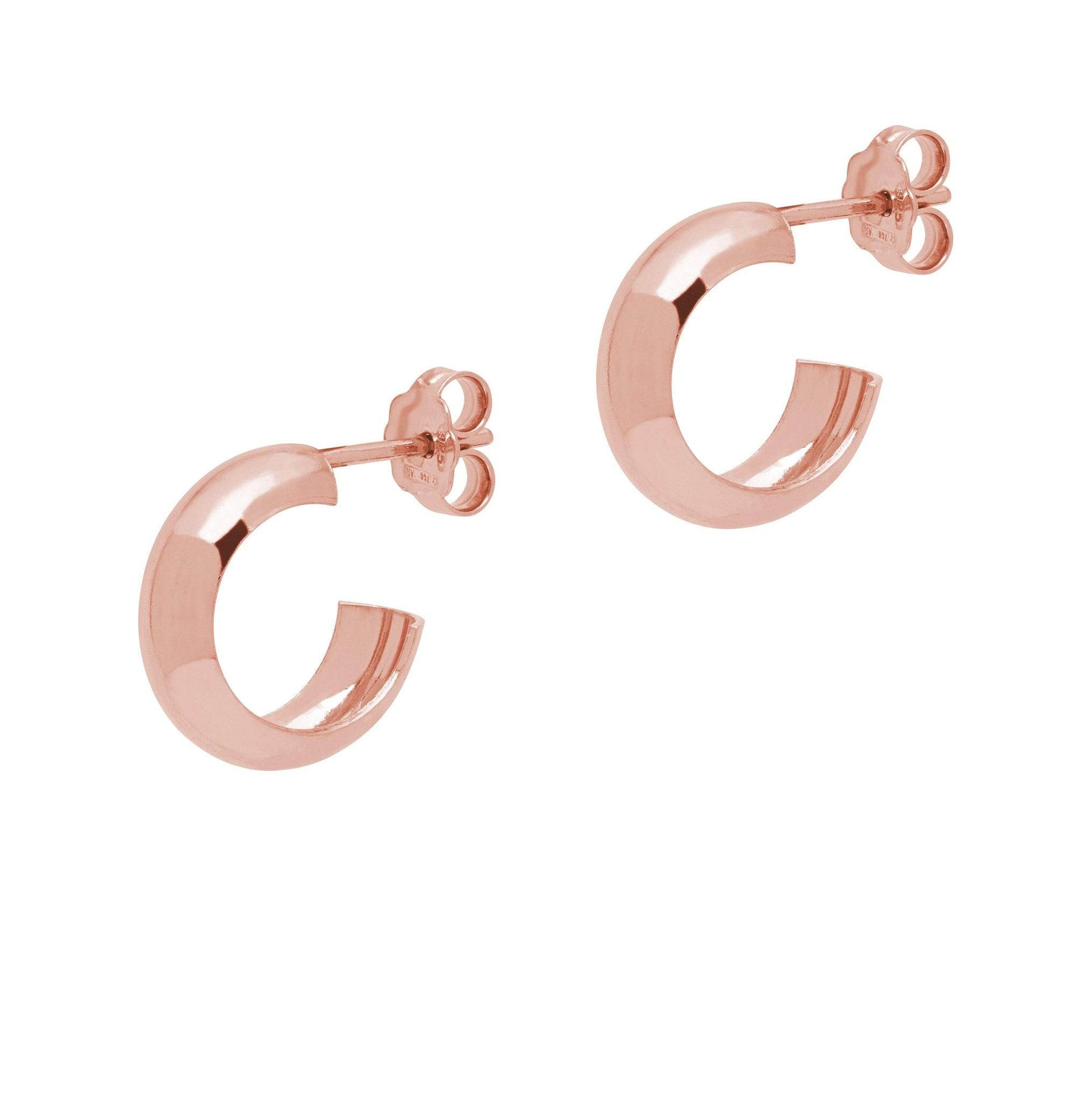 La CURVA Huggies - Rosegold - The Hoop Station 925 Sterling Silver Hoop Earrings Gold Huggies