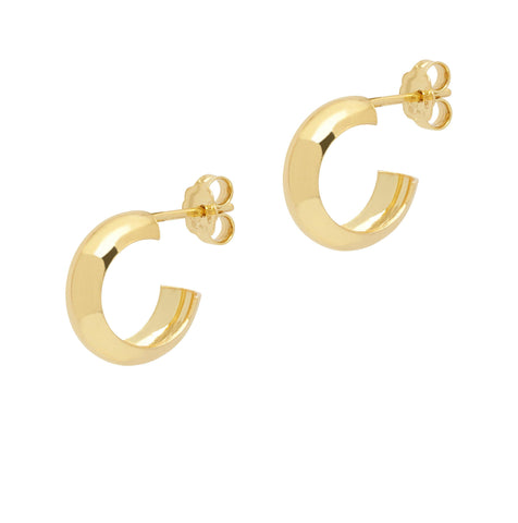 La CURVA Huggies - Gold - The Hoop Station 925 Sterling Silver Hoop Earrings Gold Huggies