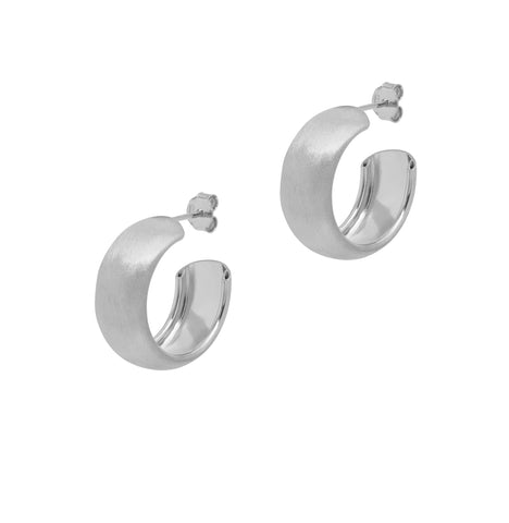 La SATINA CURVA - Silver - The Hoop Station 925 Sterling Silver Hoop Earrings Gold Huggies