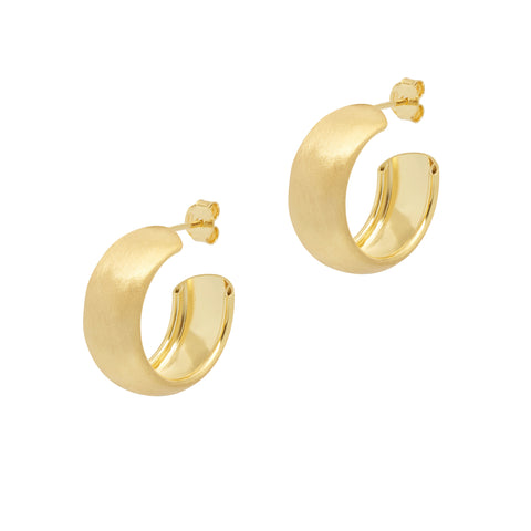La SATINA CURVA - Gold - The Hoop Station 925 Sterling Silver Hoop Earrings Gold Huggies