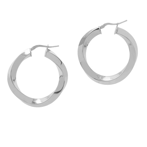 La RIBBON TWISTS - Silver - The Hoop Station 925 Sterling Silver Hoop Earrings Gold Huggies