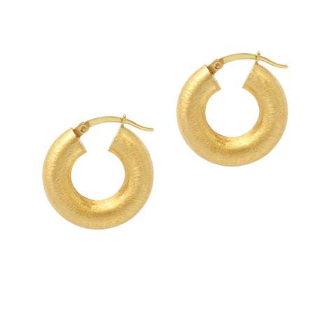 La SATINA Cushioned Hoops - Gold - The Hoop Station 925 Sterling Silver Hoop Earrings Gold Huggies