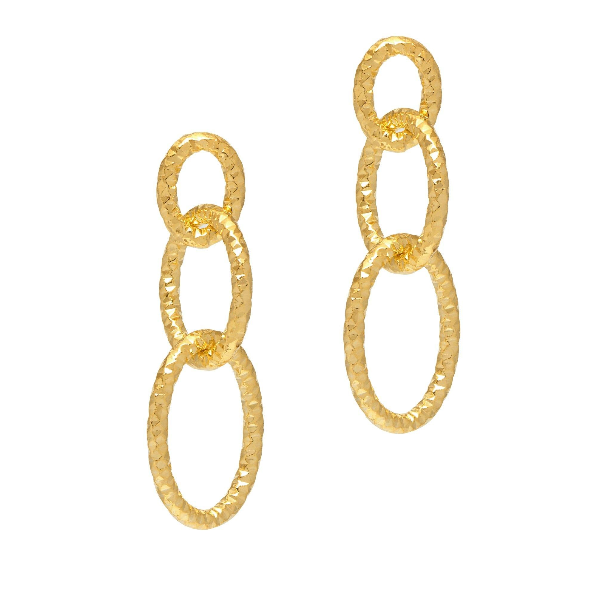 La CATENA Triple Drops - The Hoop Station 925 Sterling Silver Hoop Earrings Gold Huggies