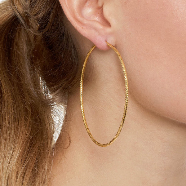 La ROMA Extra Large Rose Gold - The Hoop Station 925 Sterling Silver Hoop Earrings Gold Huggies