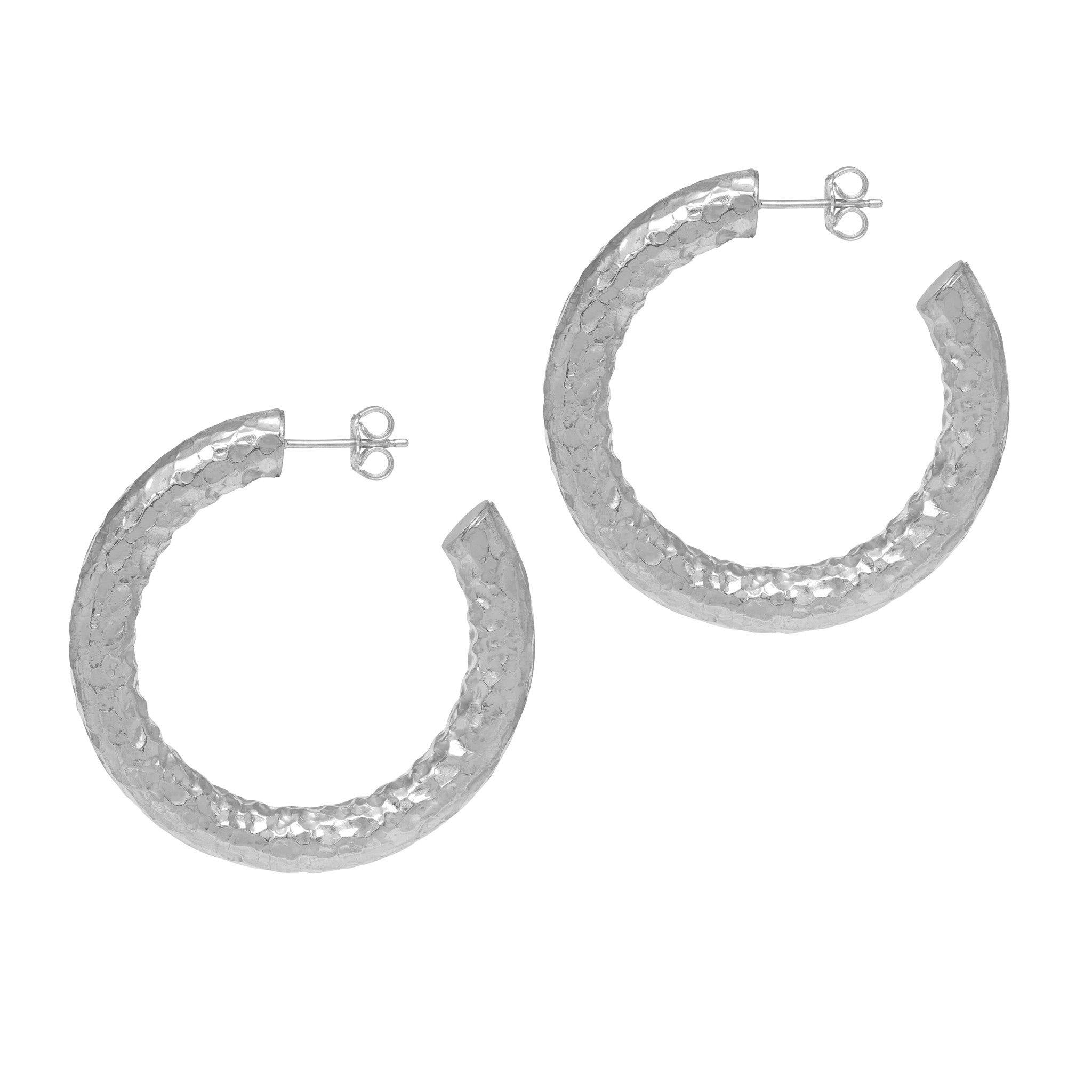 La CHUNKY SERPENTE Silver Hoops - SALE - The Hoop Station 925 Sterling Silver Hoop Earrings Gold Huggies