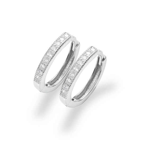 La SPARKLING SIENA Huggies - Silver - The Hoop Station 925 Sterling Silver Hoop Earrings Gold Huggies