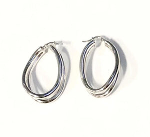 La WAVY PARALLELA Hoops - SALE - The Hoop Station 925 Sterling Silver Hoop Earrings Gold Huggies