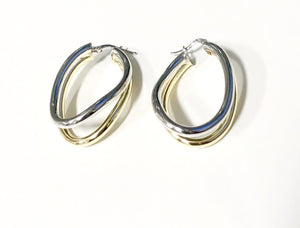 La WAVY PARALLELA - Gold & Silver Mix - SALE - The Hoop Station 925 Sterling Silver Hoop Earrings Gold Huggies