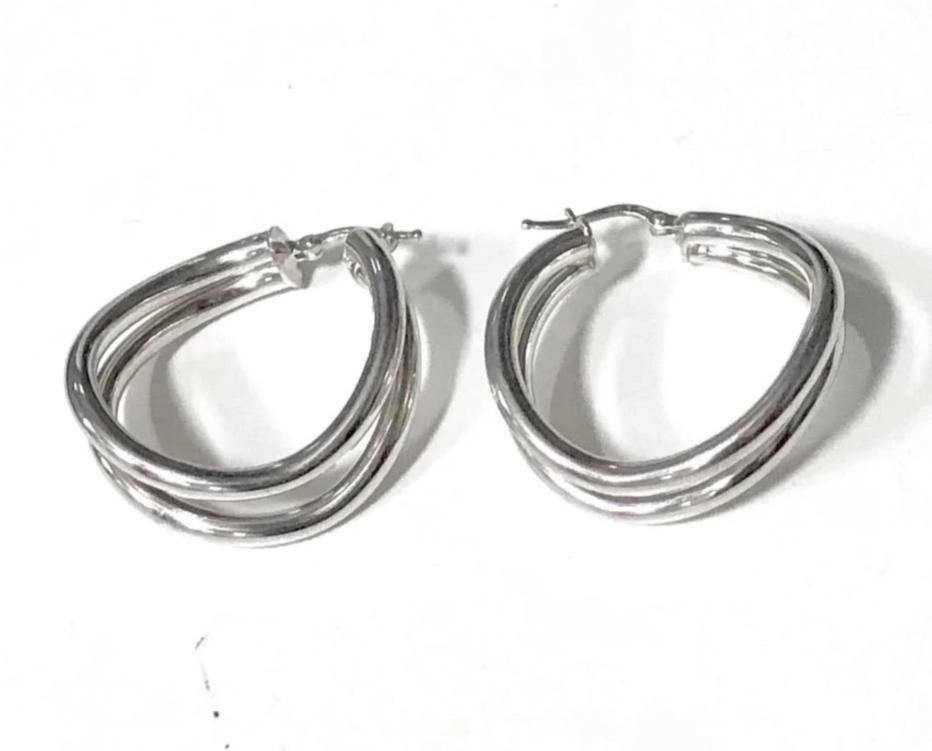 La WAVY PARALLELA ROUND - Sale - The Hoop Station 925 Sterling Silver Hoop Earrings Gold Huggies