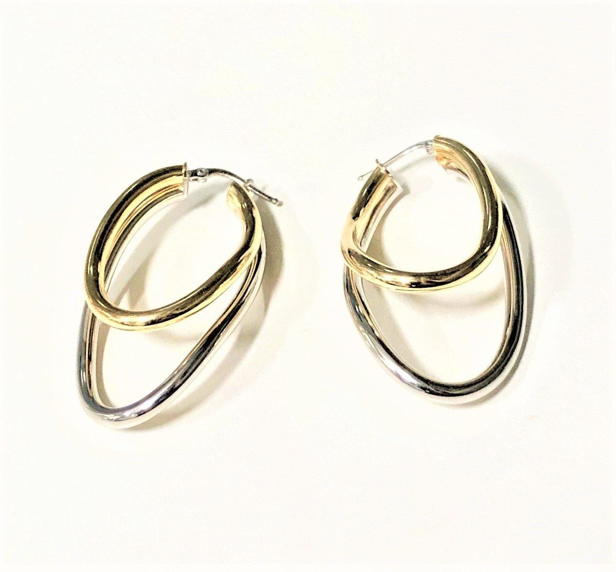 La 2 TONO DOPPIA - SALE - The Hoop Station 925 Sterling Silver Hoop Earrings Gold Huggies
