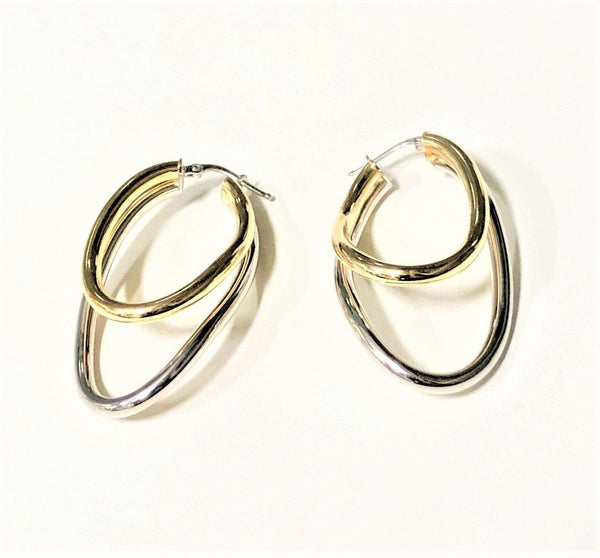 La 2 TONO DOPPIA ASYMMETRICAL - Gold & Silver - SALE - The Hoop Station 925 Sterling Silver Hoop Earrings Gold Huggies
