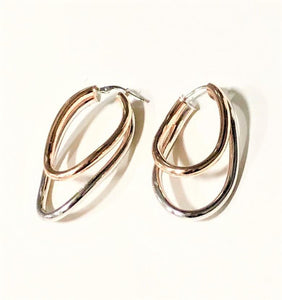 La 2 TONO DOPPIA ASYMMETRICAL - Rose & Silver - SALE - The Hoop Station 925 Sterling Silver Hoop Earrings Gold Huggies