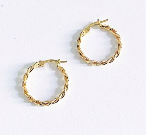 La MINI TWISTS - Gold - The Hoop Station 925 Sterling Silver Hoop Earrings Gold Huggies