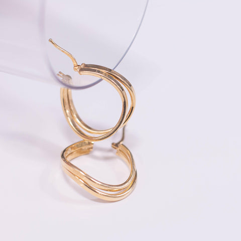 La DOUBLE WAVE Gold - SALE - The Hoop Station 925 Sterling Silver Hoop Earrings Gold Huggies