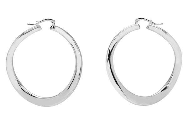 La WAVE REVERSO - Satin & Shiny - SALE - The Hoop Station 925 Sterling Silver Hoop Earrings Gold Huggies