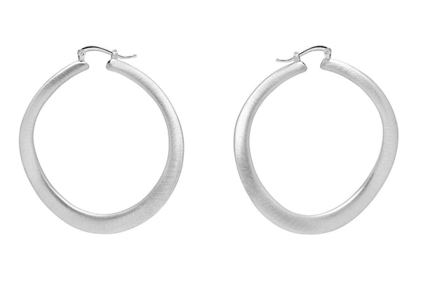 La WAVE REVERSO - Satin & Shiny - The Hoop Station 925 Sterling Silver Hoop Earrings Gold Huggies