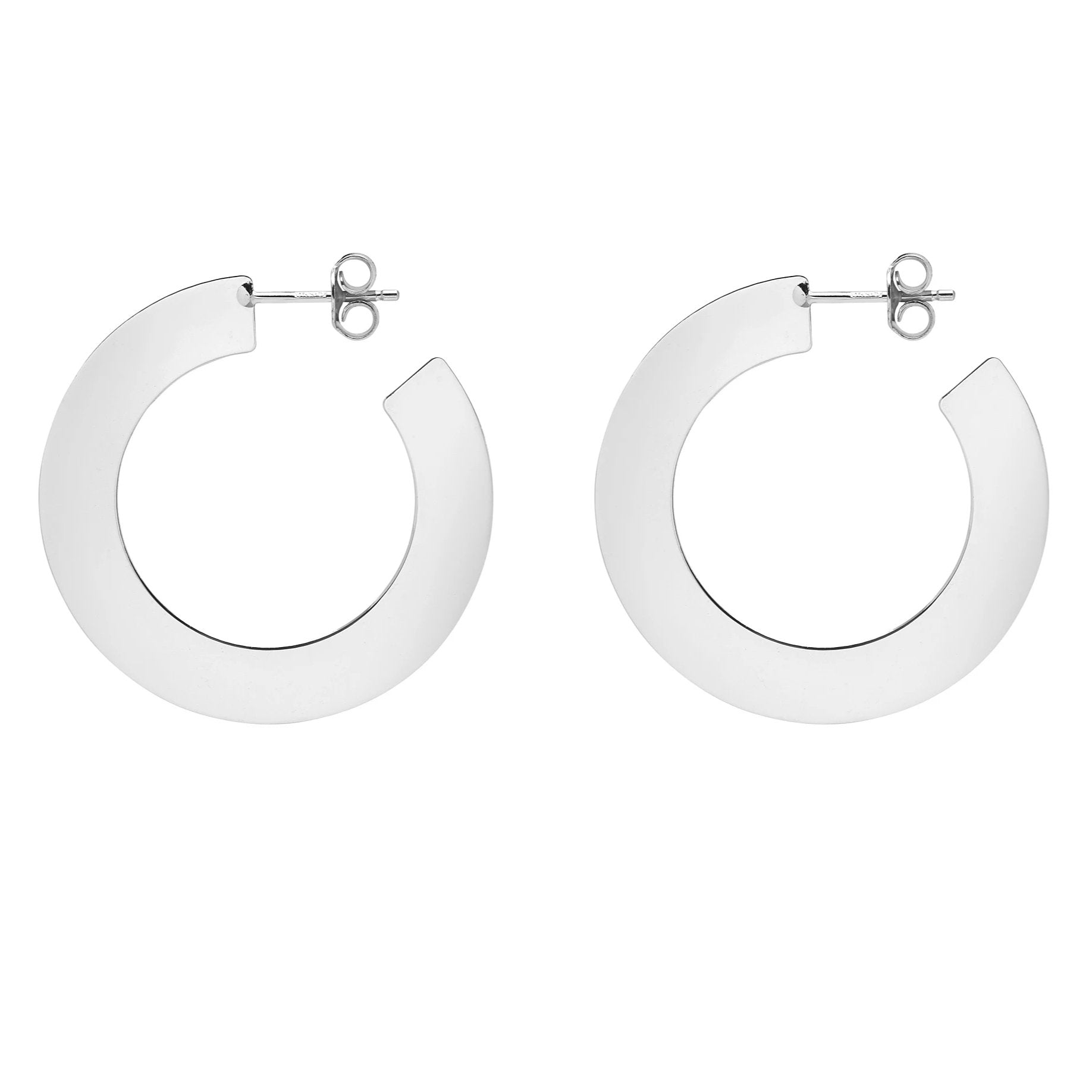 La SHINY SLICE - Silver - The Hoop Station 925 Sterling Silver Hoop Earrings Gold Huggies