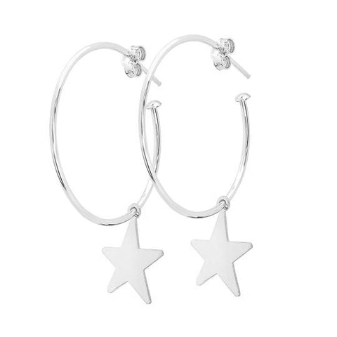 La STELLA CHARM Hoops - SILVER STARS - The Hoop Station 925 Sterling Silver Hoop Earrings Gold Huggies
