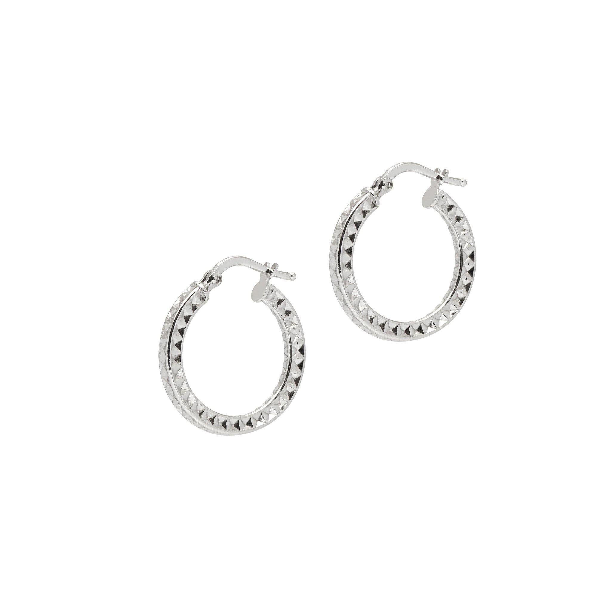 La AZTEC - Silver (2 x sizes) - The Hoop Station 925 Sterling Silver Hoop Earrings Gold Huggies