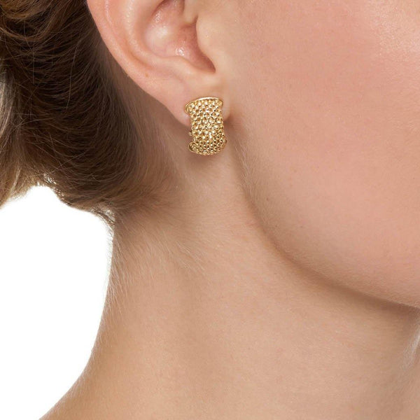 La FIESOLE WEAVE Gold - The Hoop Station 925 Sterling Silver Hoop Earrings Gold Huggies