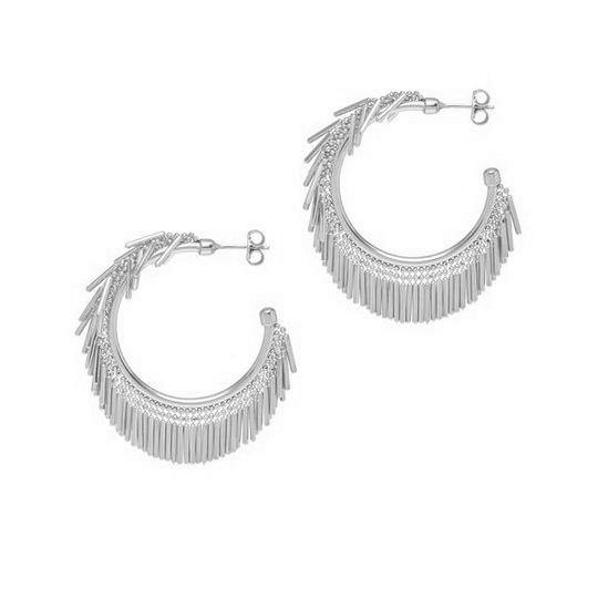 La HULA HULA Fringed Hoops - Silver or Gold - The Hoop Station 925 Sterling Silver Hoop Earrings Gold Huggies
