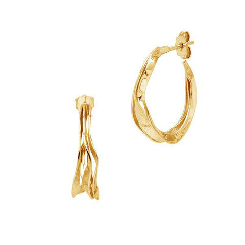La PALERMO WAVE - The Hoop Station 925 Sterling Silver Hoop Earrings Gold Huggies