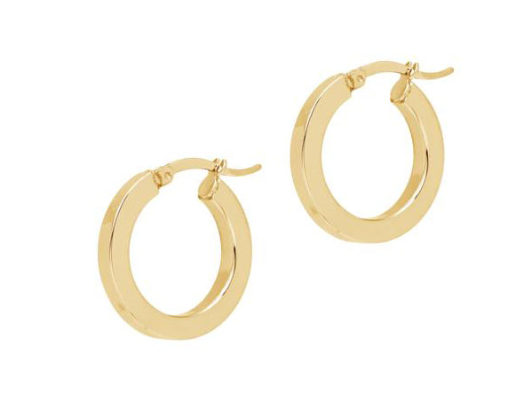 La PICCOLO SHINY SQUARED - The Hoop Station 925 Sterling Silver Hoop Earrings Gold Huggies