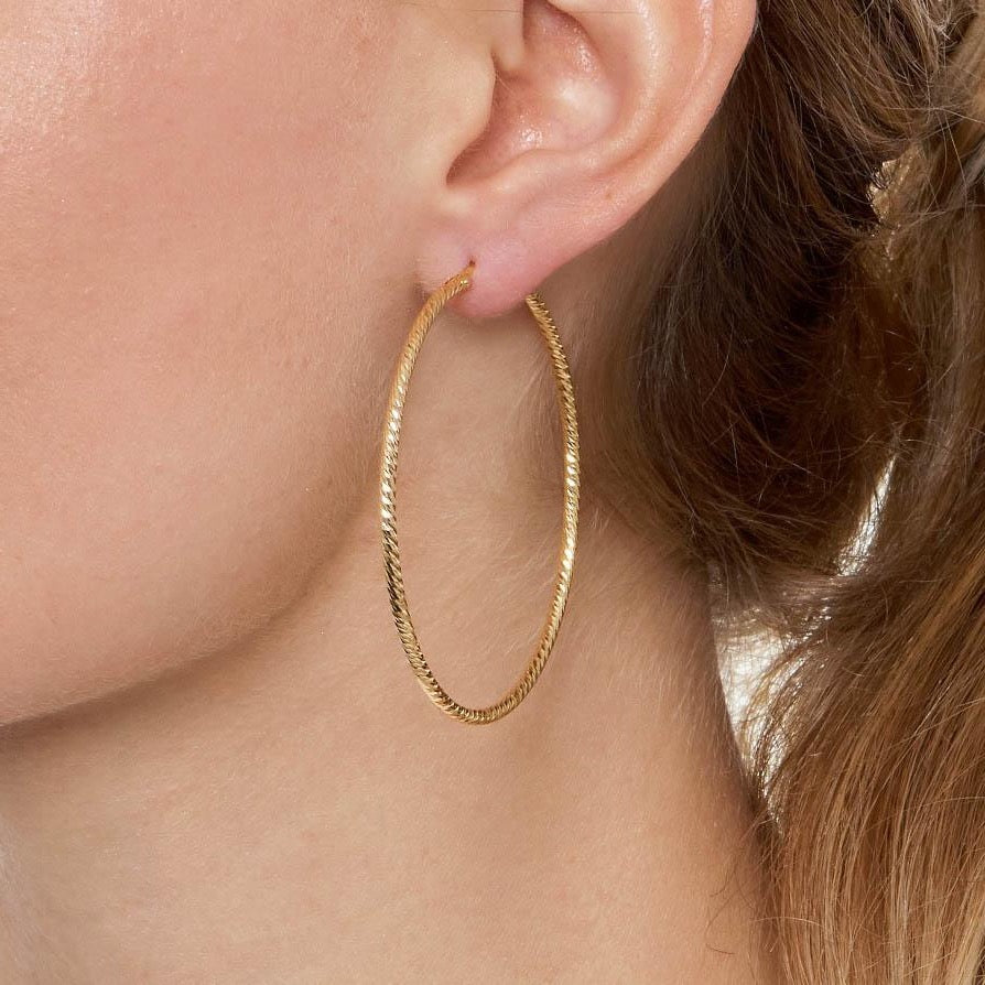 La ROMA Large Gold - The Hoop Station 925 Sterling Silver Hoop Earrings Gold Huggies