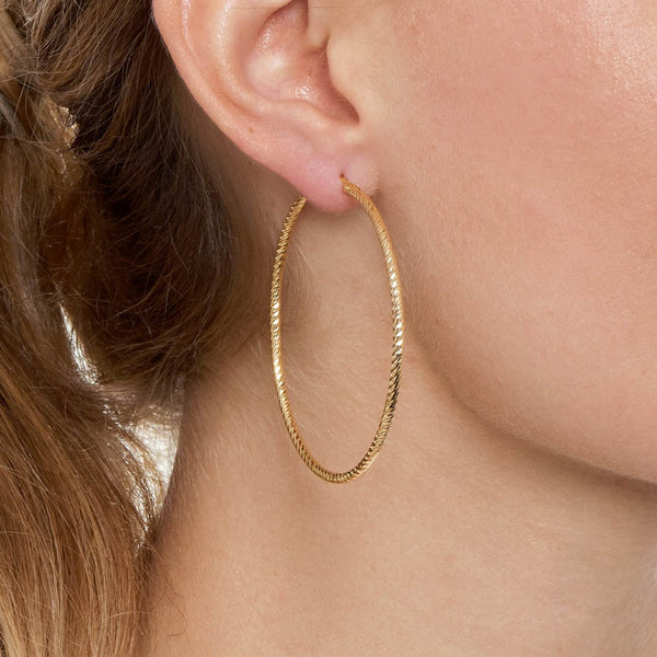 La ROMA Large Rose Gold - The Hoop Station 925 Sterling Silver Hoop Earrings Gold Huggies