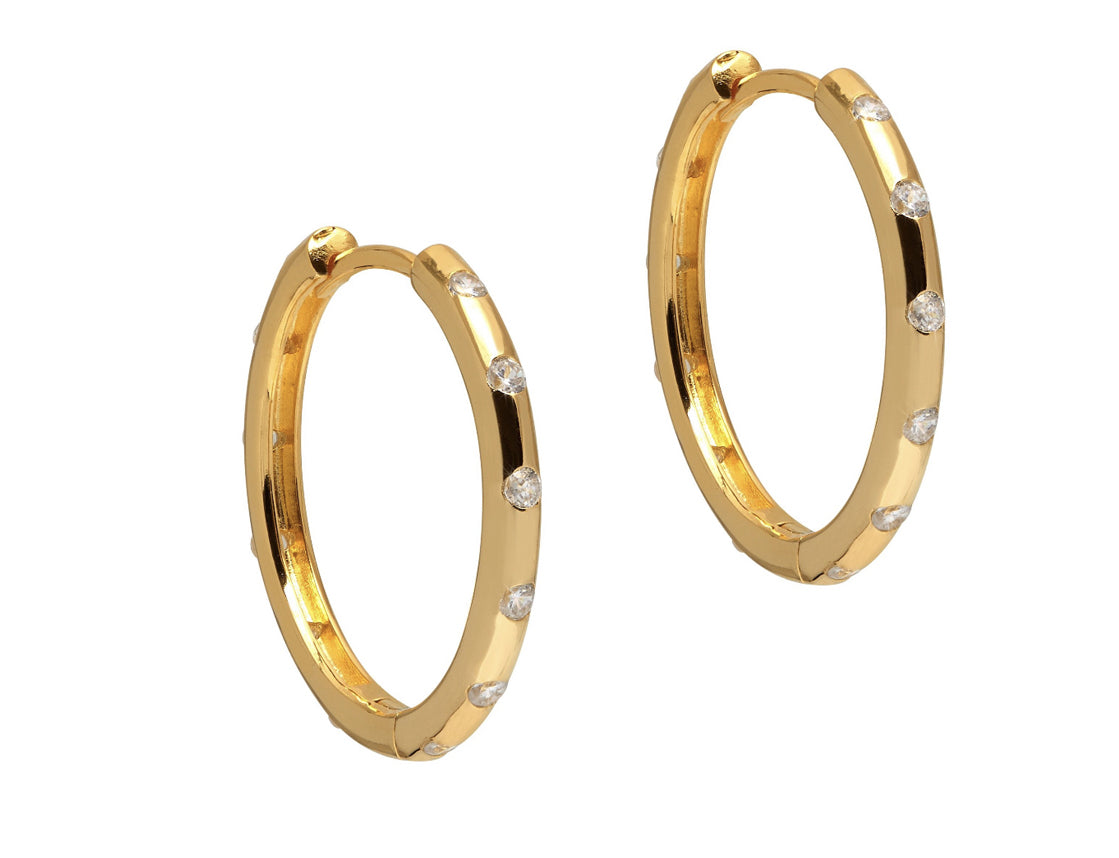 La SPARKLING POSITANO - The Hoop Station 925 Sterling Silver Hoop Earrings Gold Huggies