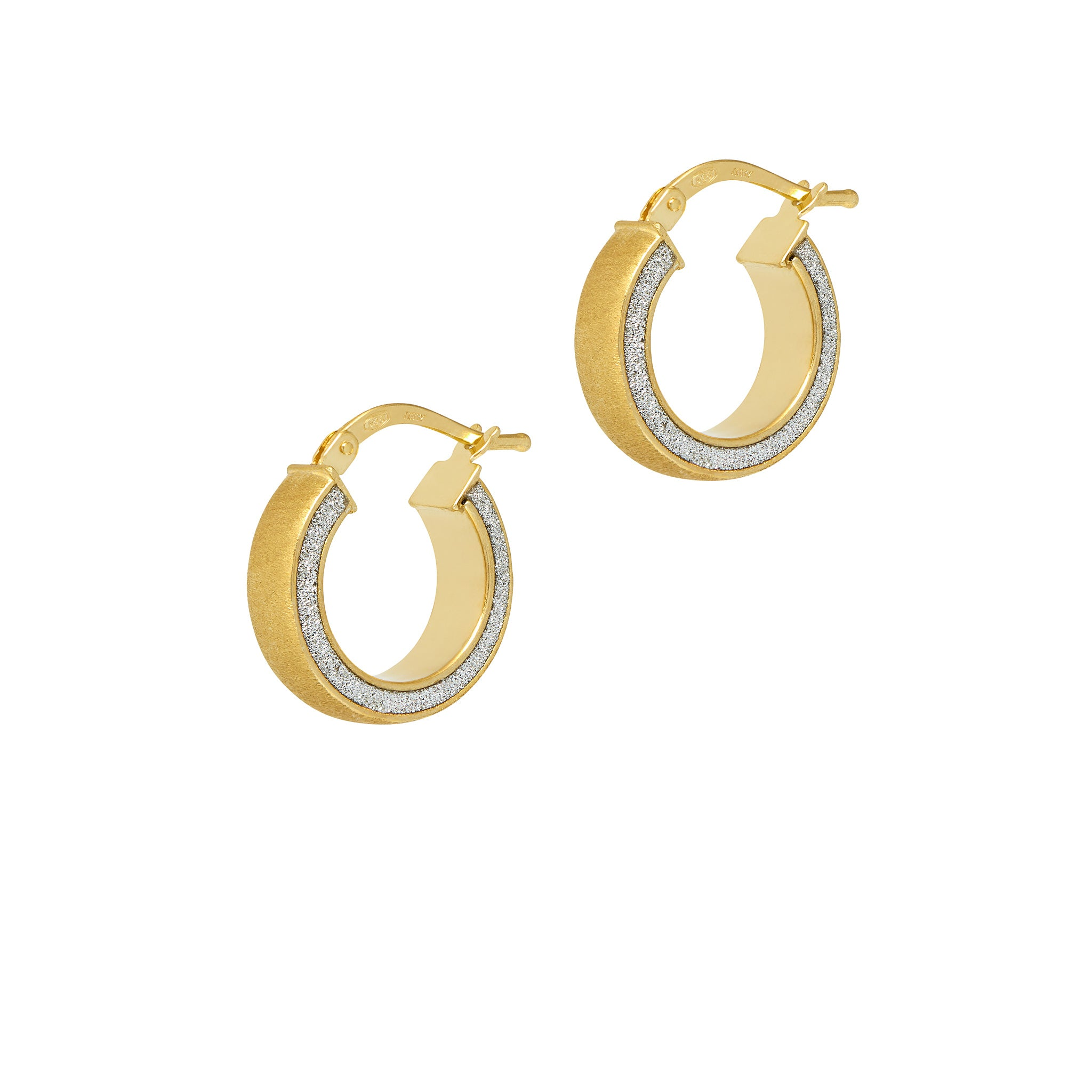 La SATINA GLITTER Huggies - The Hoop Station 925 Sterling Silver Hoop Earrings Gold Huggies
