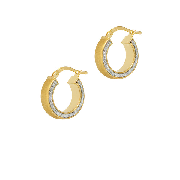 La SATINA GLITTER Mini's - The Hoop Station 925 Sterling Silver Hoop Earrings Gold Huggies