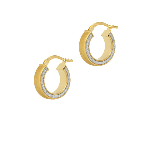 La SATINA GLITTER Gold - SALE - The Hoop Station 925 Sterling Silver Hoop Earrings Gold Huggies