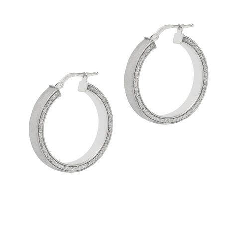 La SATINA GLITTER - The Hoop Station 925 Sterling Silver Hoop Earrings Gold Huggies